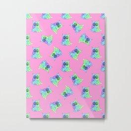 Topsy Turvy Owls Pink Metal Print