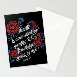 "Imam Ali: ""Wealth is diminished by spending while knowledge grows by use."" Stationery Cards"