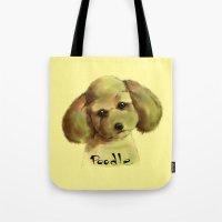 poodle Tote Bags featuring Poodle by Det Tidkun