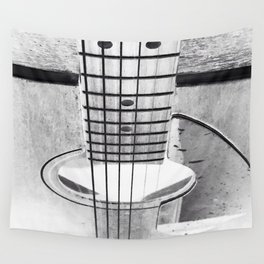 Guitar Strings - Black and White Wall Tapestry