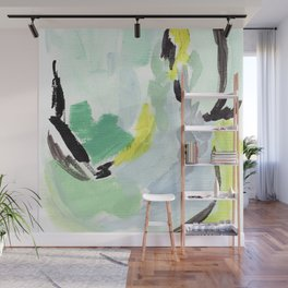 Twirl Green: Abstract Painting Wall Mural