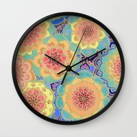 purple Wall Clocks featuring Obsession by micklyn