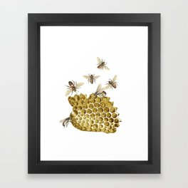 BEES and Honeycomb Framed Art Print