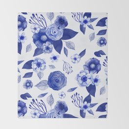 blue and white watercolor floral Throw Blanket