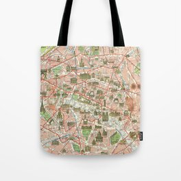 Vintage Map of Paris (1920) Tote Bag