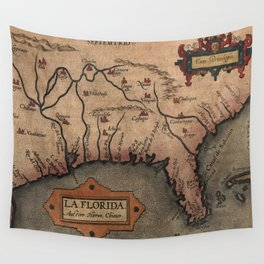 Vintage Spanish Map of Florida Discovery (1584) Wall Tapestry