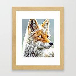 Fox Portrait Airbrush Artwork Framed Art Print