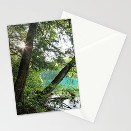 Aqua Blue Lake and Trees Stationery Cards