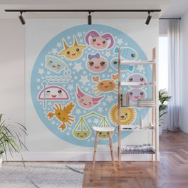 Funny Kawaii zodiac sign Wall Mural