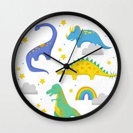 Dinosaurs + Rainbows Wall Clock