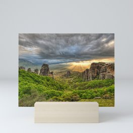 Monasteries on the top of Giant rocks seem miraculous and make Meteora one of the most spectacular places in Greece. Mini Art Print