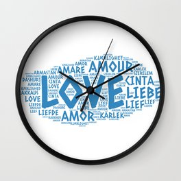 Cloud illustrated with Love Word of different languages Wall Clock