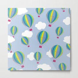 Hot air balloons and clouds - ultra violet Metal Print