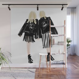 Fashionable Best Friend Holding Hand Wall Mural