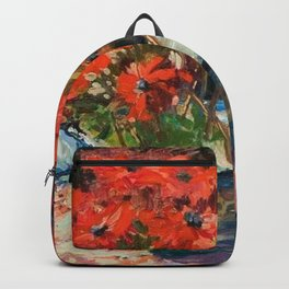 Still Life with Red Flowers floral portrait painting Helene Cramer Backpack
