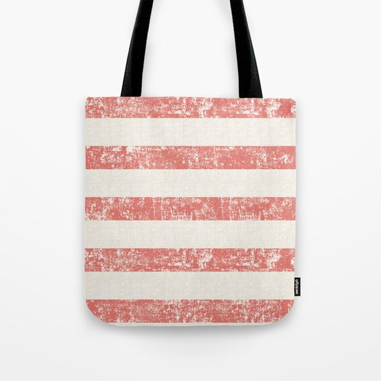 Maritime Beach Pattern- Red and White Stripes- Horizontal- Tote Bag