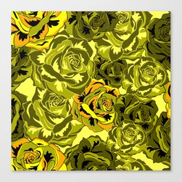 Vibrant  Green Rose floral texture Canvas Print