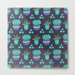 Potted Plants Pattern Metal Print