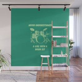 Never Underestimate A Girl With A Drum Set Funny Drums Vintage Drummer Distressed Wall Mural