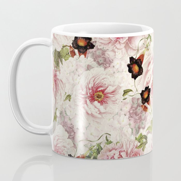 Small Vintage Peony and Ipomea Pattern - Smelling Dreams Coffee Mug