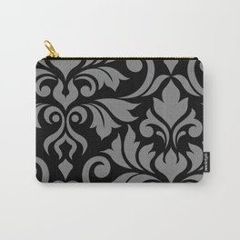 Flourish Damask Art I Gray on Black Carry-All Pouch