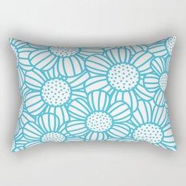 Field of daisies - teal Rectangular Pillow