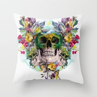 skulls Throw Pillows featuring SKULLS by RIZA PEKER