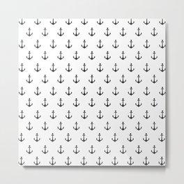 Simple black white modern nautical anchor Metal Print