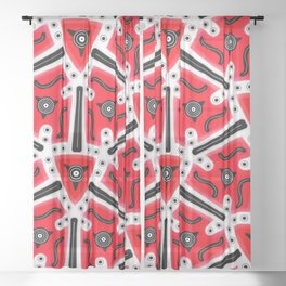 Fidget from the Black & White & Red All Over Collection Sheer Curtain