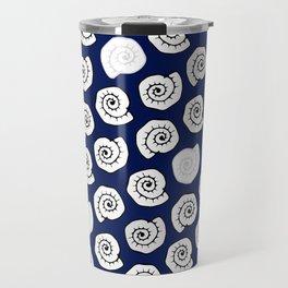 seashell - pop blue pattern Travel Mug