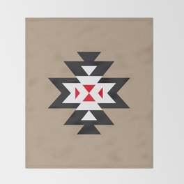 Navajo Aztec Pattern Black White Red on Light Brown Throw Blanket