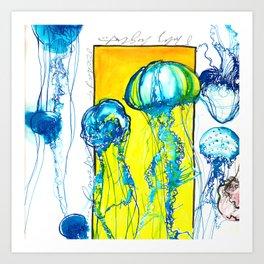 Blue jellys Art Print