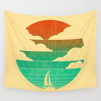 sail Wall Tapestries featuring Go West (sail away in my boat) by Picomodi