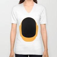 deadmau5 V-neck T-shirts featuring Daft Punk Guy Manuel Helmet by Alli Vanes