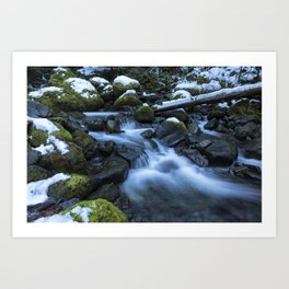 Snow, Moss, Water Over Rocks Art Print