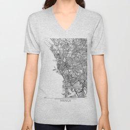 Manila Map White Unisex V-Neck