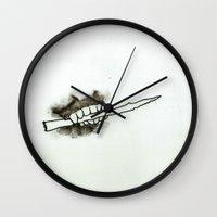 teeth Wall Clocks featuring Teeth by Cat Rocketship