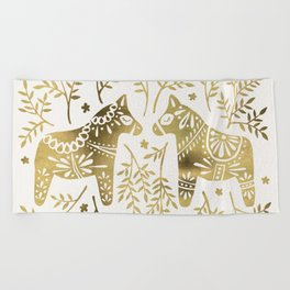 Swedish Dala Horses – Gold Palette Beach Towel