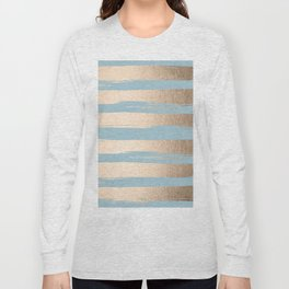 Painted Stripes Gold Tropical Ocean Sea Blue Long Sleeve T-shirt