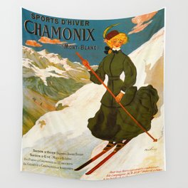 Vintage Chamonix Mont Blanc France Travel Wall Tapestry