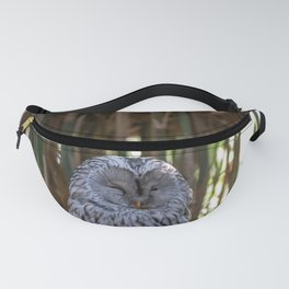 Ural owl resting on a branch Fanny Pack