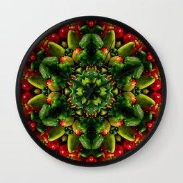 Peppy pepper mandala - green center Wall Clock