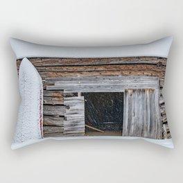 Winter Storage for a fishing boat near the barn in Hibernation Rectangular Pillow