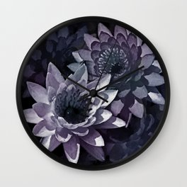 Blue and Purple Watercolor Lotus  flowers Wall Clock