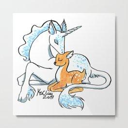 Unicorn and fawn Metal Print
