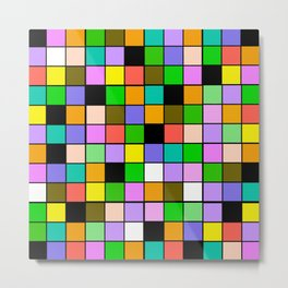 Checker Board Square Pattern Metal Print