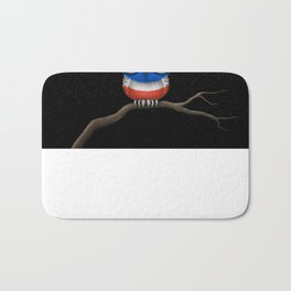 Baby Owl with Glasses and Thai Flag Bath Mat
