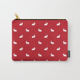Rabbit silhouette minimal red and white basic pet art bunny rabbits pattern Carry-All Pouch