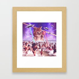 cat invader from space galaxy marsians attacking beach Framed Art Print
