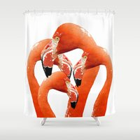 flamingos Shower Curtains featuring Flamingos by Regan's World